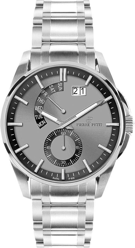 Pierre Petit Le Mans P-793D - Reloj analógico de cuarzo para hombre, correa de acero inoxidable color plateado