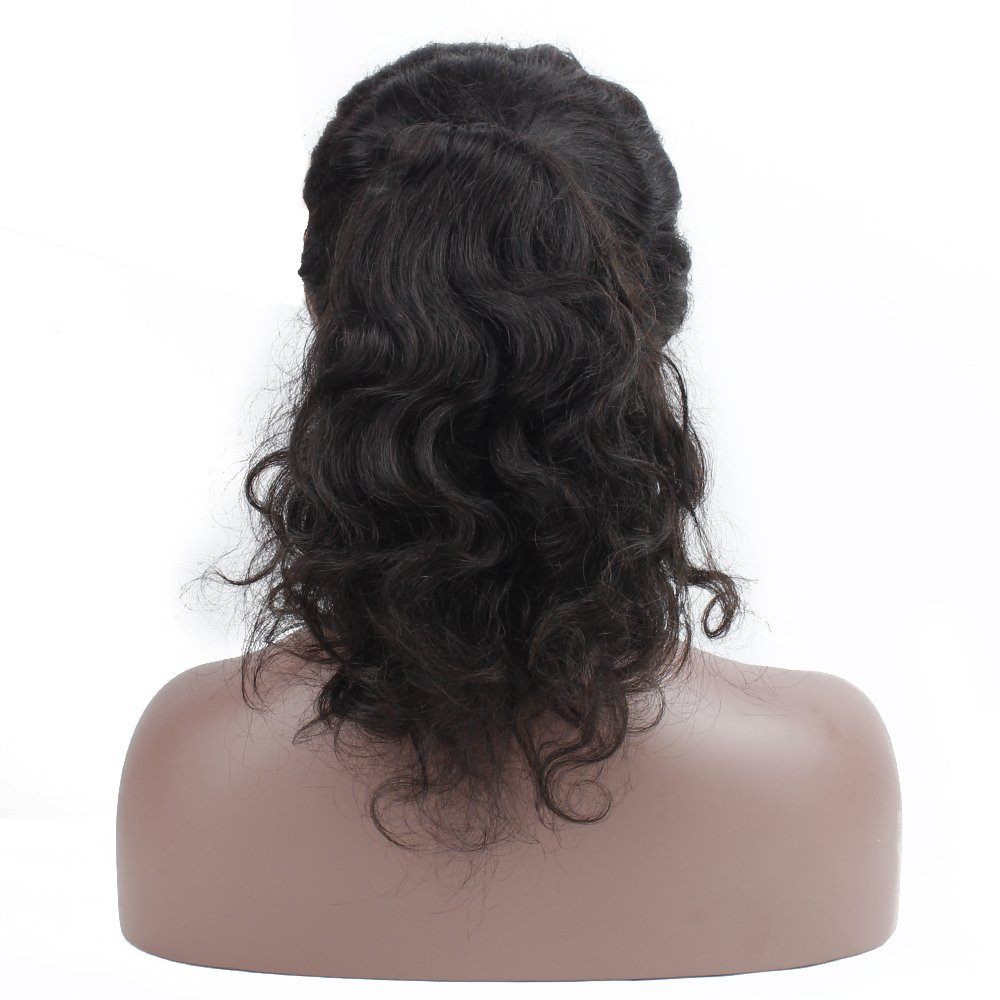 Queen Plus Body Wave 360 Lace Frontal Wig 180% Density Peruvian Virgin Hair Full Lace Cap Band Human Hair Wigs For Black Women Pre Plucked Hairline with Baby Hair (18inch) by Queen Plus Hair (Image #4)