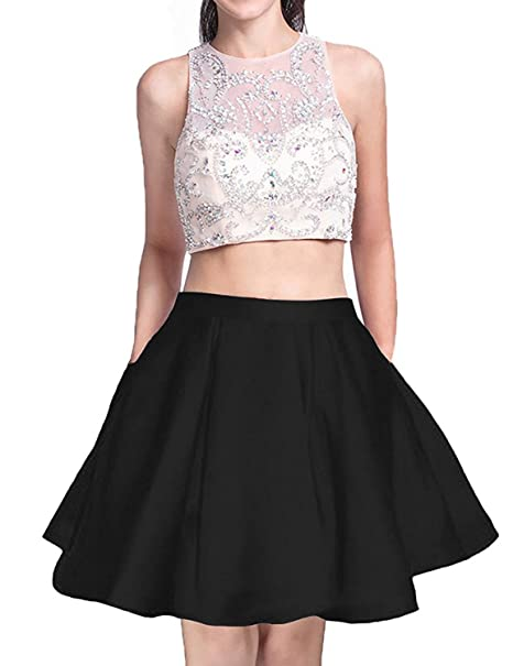 Women s Satin Homecoming Dresses Short Two Piece Juniors A Line Prom Party  Ball Gowns Size 2 edc1c1ec71fb