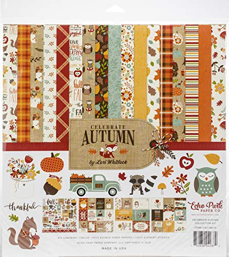 Echo Park Paper Company CAU158016 Celebrate Autumn Collection Kit Paper, Orange, Yellow, Blue, Brown, Tan from Echo Park Paper Company
