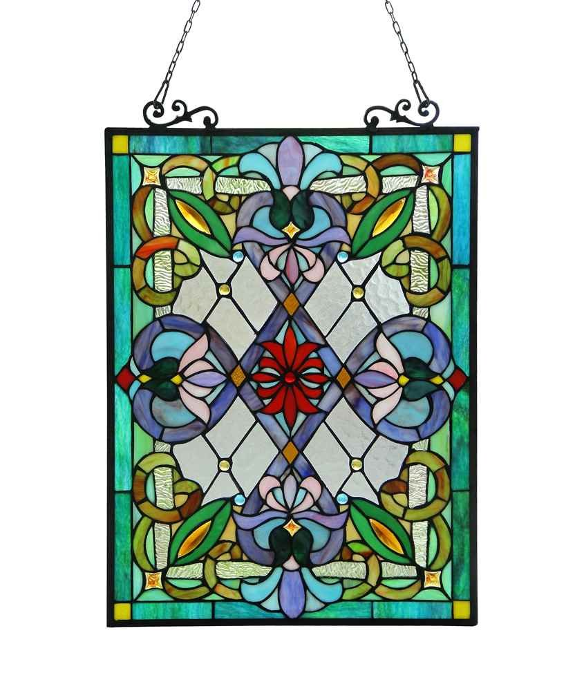 IZZY Tiffany-glass Victorian Window Panel