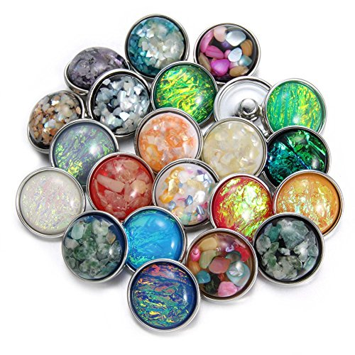 Soleebee Crystal Shell Opal 20mm Snap Buttons Jewelry Charms (Pack of 24)