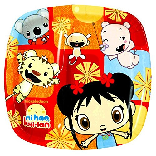 Amscan Playful Ni Hao Kai Lan Birthday Party Divided Lunch Paper Plates Tableware (8 Pack), 9