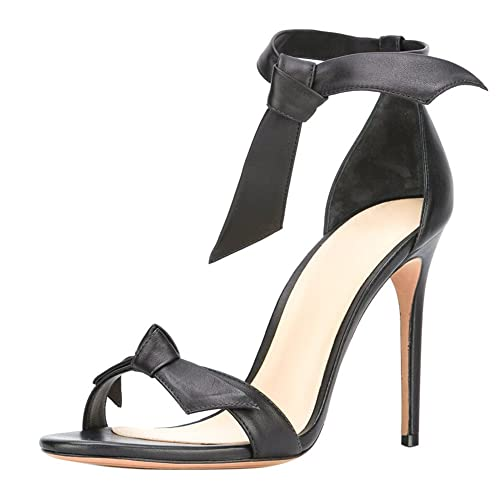 0feabfcdd17e Onlymaker Women s Bowknot Ankle Strap Pointed Toe High Heel Open Toe  Sandals Black PU 9.5 M