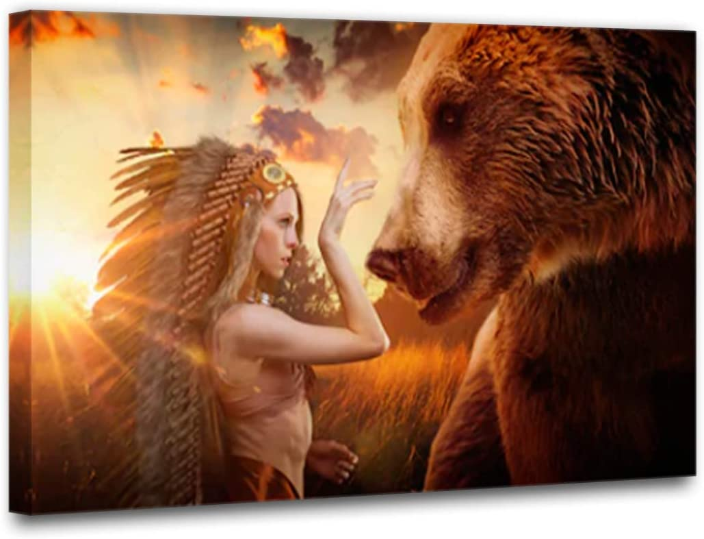 TUMOVO Native American Indian Girl Wall Art Canvas Painting Women Get Along with The Brown Bear Outdoor Field Modern Poster Picture Verical Artwork Home Decor for Living Room 1 Piece 16 Wx24 H
