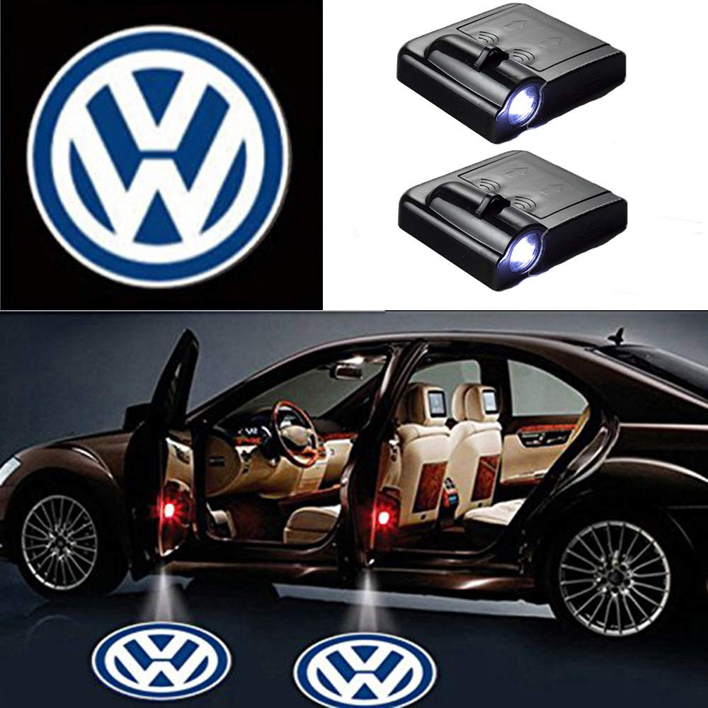 2 Pcs Universal Wireless Car Projection LED Projector Door Shadow Light Welcome Light Laser Emblem Logo Lamps Kit, No Drilling MIVISO