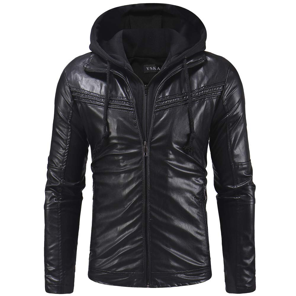 Lightweight Autumn Winter Blouse, Stylish Men's Leather Zipper Hooded Pullover Long Sleeve Coat Jacket Tops (Black, L)