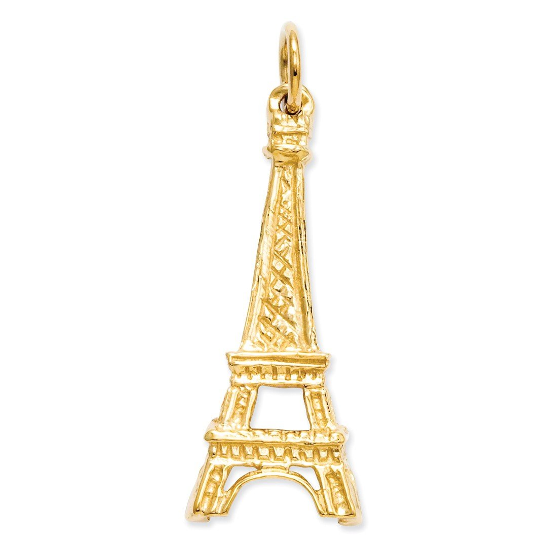 ICE CARATS 14k Yellow Gold Eiffel Tower Pendant Charm Necklace Travel Transportation Fine Jewelry Gift Set For Women Heart