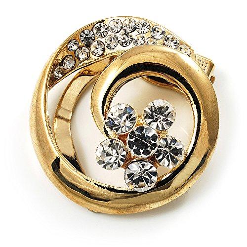 Gold Tone Swirl Pin (Swirl Crystal Scarf Pin/ Brooch (Gold Tone))