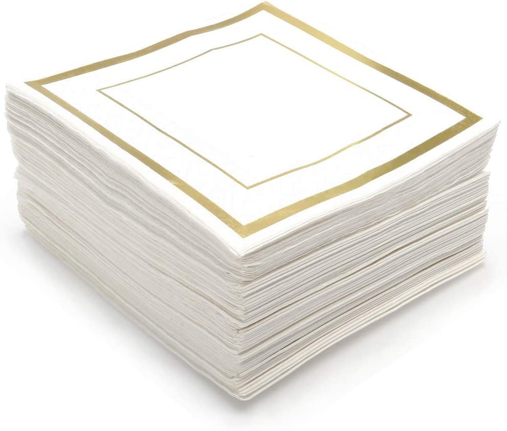GLAM Cocktail Napkins Gold Trim, 100 Pack - 5x5 Inches Wedding Napkins, Paper - 5x5 Gold Napkins, Disposable - Party Napkins, White and Gold - Beverage Napkins, Gold Rim