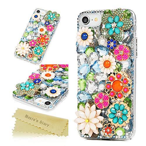iPhone 7 Case, iPhone 8 Case, Maviss Diary Full Edge 3D Handmade Luxury Bling Crytal Fashion Design Colorful Flower Shiny Gem Pearl Rhinestone Diamond Clear Hard Protective Plastic PC Cover