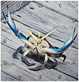 3dRose dpp_63150_1 Blue Crab Marine, Creature, Animal, Animals, Wildlife, Ocean, invertebrate, Blue, Crab, Seafood Wall Clock, 10 by 10-Inch