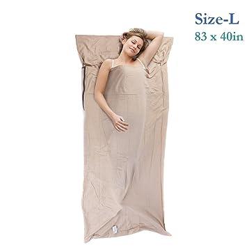 topnaca® Ligero Cálido roomy algodón saco de dormir Liner, saco