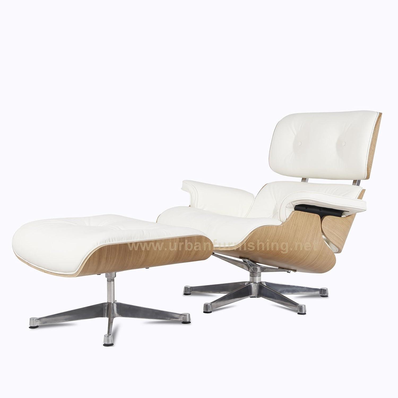 Amazon.com: UrbanFurnishing.net   Mid Century Plywood Lounge Chair U0026  Ottoman   White Aniline Leather/Ashwood: Home U0026 Kitchen