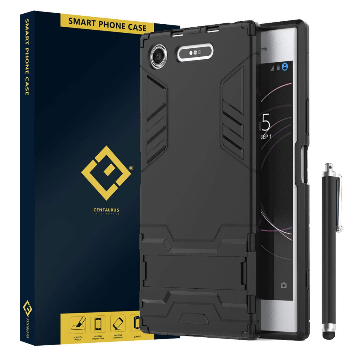 CENTAURUS Replacement for Sony Xperia XZ1 Case, Built-in Kickstand Shock Absorbing Detachable 2in1 Hybrid Heavy Duty Armor Dual Layer Rugged ...