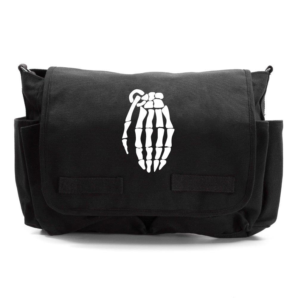 Skeleton Hand Grenade Army Heavyweight Canvas Messenger Shoulder Bag in Olive /& Black