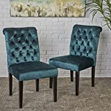 Deanna Tufted Teal Velvet Dining Chair with Roll Top (Set of 2) For Sale