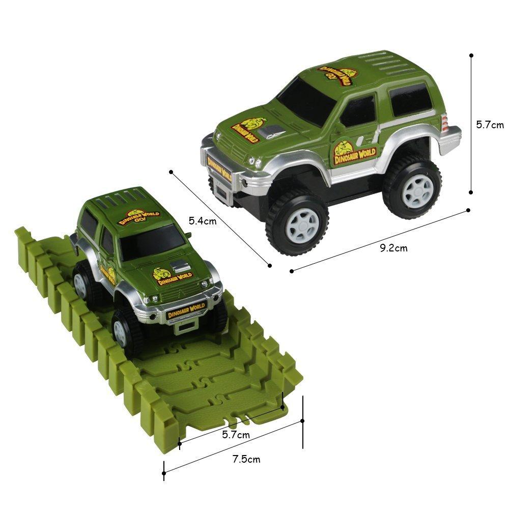 Lydaz Race Track Dinosaur World Bridge Create A Road 142 Piece Toy Car /& Flexible Track Playset Toy Cars 2 Dinosaurs