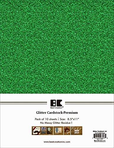 Best Creation A4 Glitter Cardstock, Green, 10 Piece