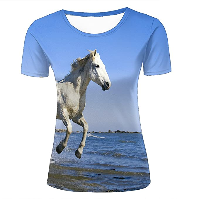 f386990b Amazon.com: liangjinyan Couple T Shirts White Animal Horse 3D Funny ...