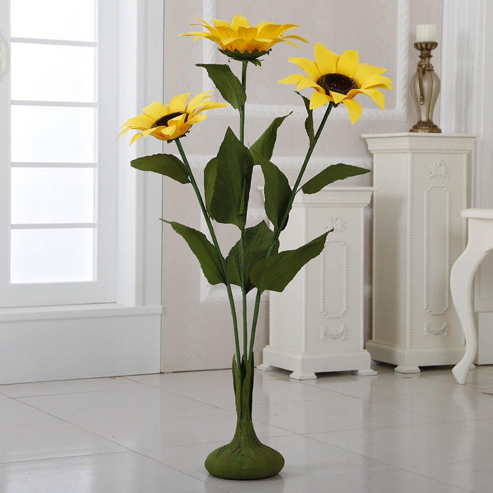 ZF266 45'' Free Standing Paper Sunflowers(Yellow, 4pcs) by Flora Bunda