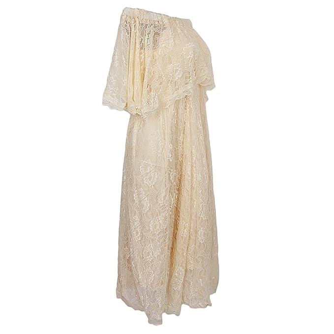 Baoblaze Vestido Suave Largo Blando Embarazo Compromiso Mujer Bordado Organza Ropa de Foto Floral Transpirable -