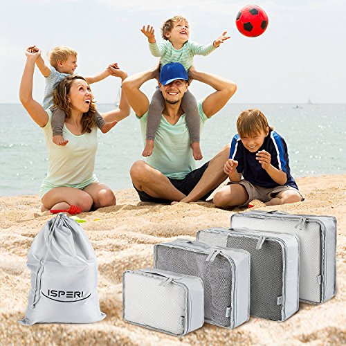 5 Set Packing Cubes - Travel Luggage Packing Organizers with Laundry Bag - Packing Cube by Isperi by Isperi (Image #6)