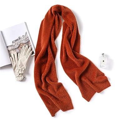 d1d2a71ad3c92 AFBLR Col écharpe châle Echarpe couleur unie femelle hiver imitation vison  col chaud épais, marron foncé  Amazon.fr  Vêtements et accessoires