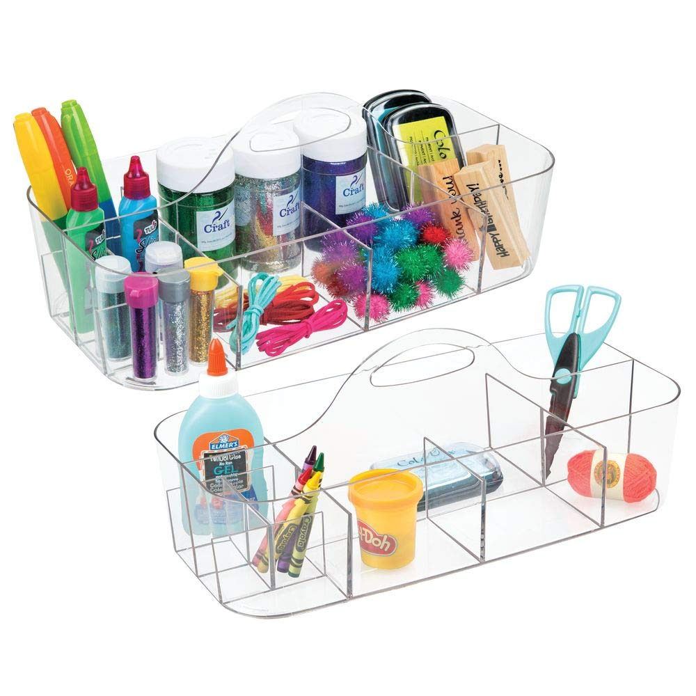mDesign Plastic Portable Craft Storage Organizer Caddy Tote, Divided Basket Bin for Craft, Sewing, Art Supplies - Holds Paint Brushes, Colored Pencils, Stickers, Glue - Extra Large, 2 Pack - Clear