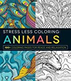 Search : Stress Less Coloring Animals Peace Relaxation Imagination Kids Adults Teens Color Books Large Prints Designs 100 Pages