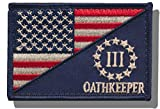 "[Single Count] Custom and Unique (3'' x 2'') Rectangle ""Political"" USA Stars & Stripes Oathkeeper 3 Percent Punisher Morale Flag Embroidered Applique Patch {Blue, White, & Red Colors} [Licensed]"