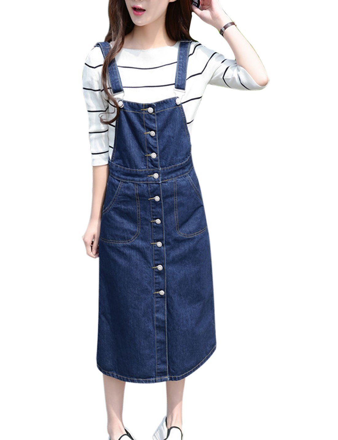 3d8b960fe62 Yeokou Women s Midi Length Long Denim Jeans Jumpers Overall Pinafore Dress  Skirt