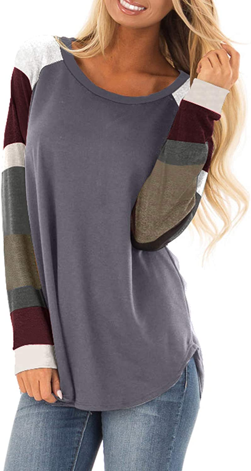 HIMISSU Women Blouse Casual Tunic Tops Long Sleeve Shirt Chest Cutout Color Block Tunic Loose Comfortable Cardigan Fashion Pullover Cotton Sweatshirt Crew Neck Blouse Tops Outerwear