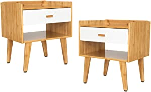 YOURLITE Nightstand Set of 2,Side Table End Table Bamboo, Bedside Table with Open Compartment, Storage Drawer 2-Pack for Bedroom,Home