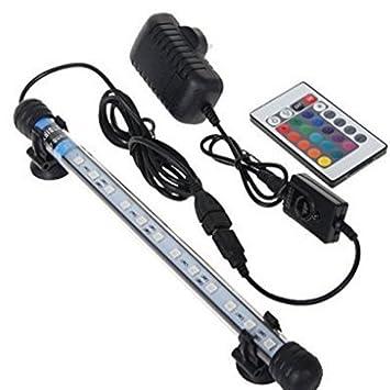 Glighone Lámpara de Acuario Luces para Acuarios de Peces y Estanques 18 LED 4W 12 RGB