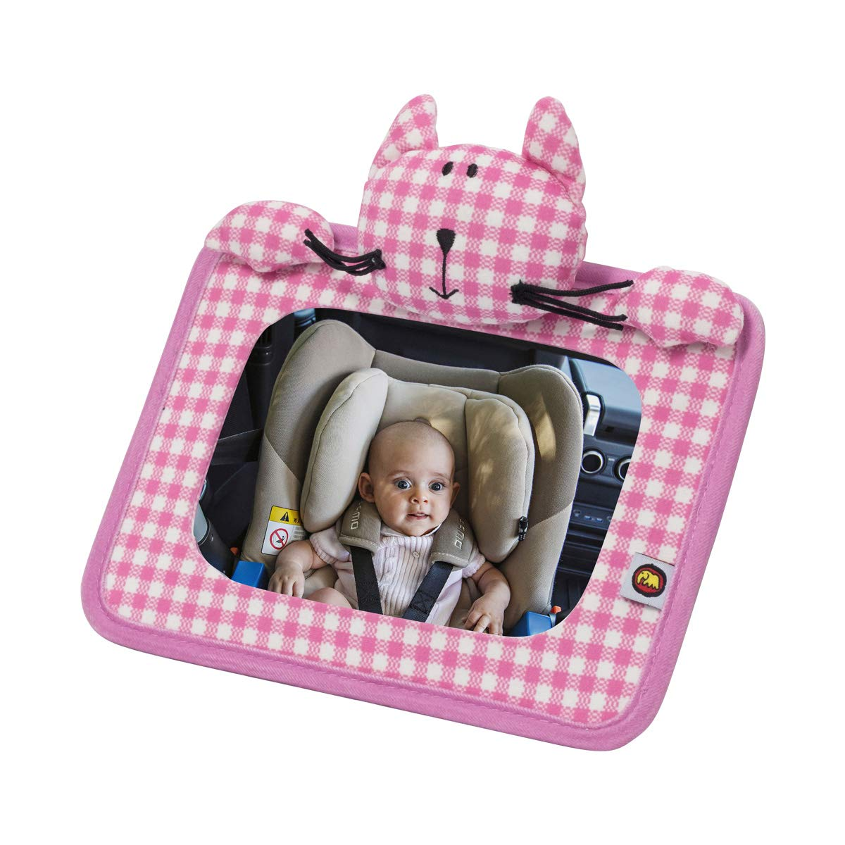INFANZIA Baby Back Seat Mirror - Car Seat Mirror for Rear Facing Infants Baby in-Sight Car Mirror Wide Convex Glass and Fully Assembled Lovely Animals Pattern
