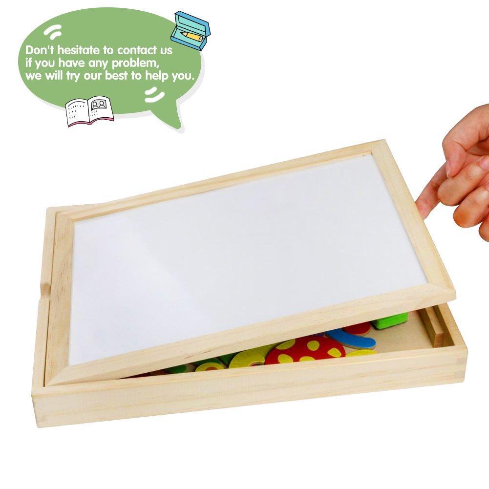 Puzzles de Madera Magnético Dibujo Placa Rompecabezas Pizarra con Caja Para Niños de 3 Años