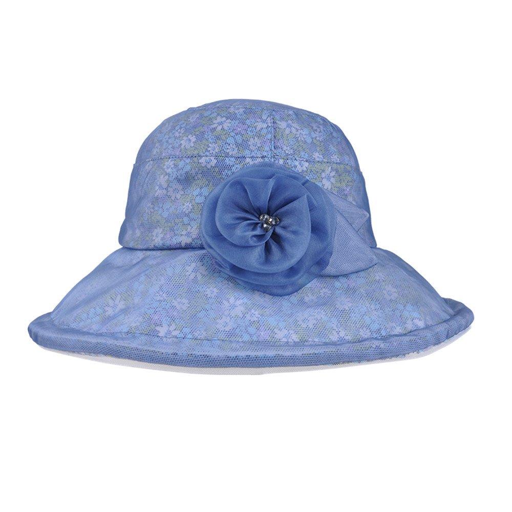 Kenmont Summer Women Lady Real Silk Bucket Hat Wide Brim Vacation Beach Cap