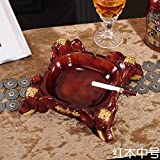 Znzbzt Resin smoke cylinder creative personality upscale living room stylish and trendy home office desk ashtray, mahogany color number.