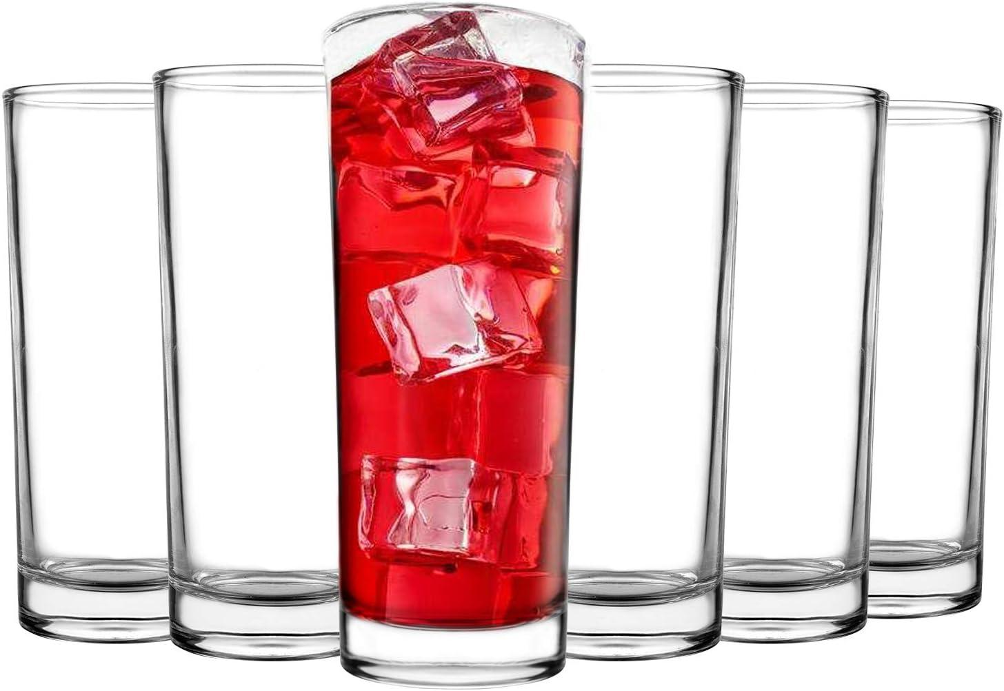 Tebery 6 Pack Clear Heavy Base Highball Glasses Drink Glasses Tumbler Beverage Set (11 Ounce)