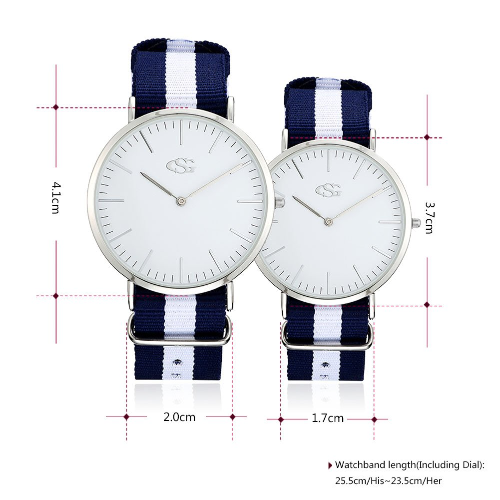 GEORGE · SMITH Classic His and Hers Couples Genuine Leather Band Quartz Wrist Watches