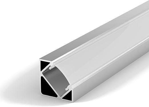 SET: LED Profil, 100cm Profil LED 45° für LED Streifen, aluminium led  profil + Abdeckung (Milchig )