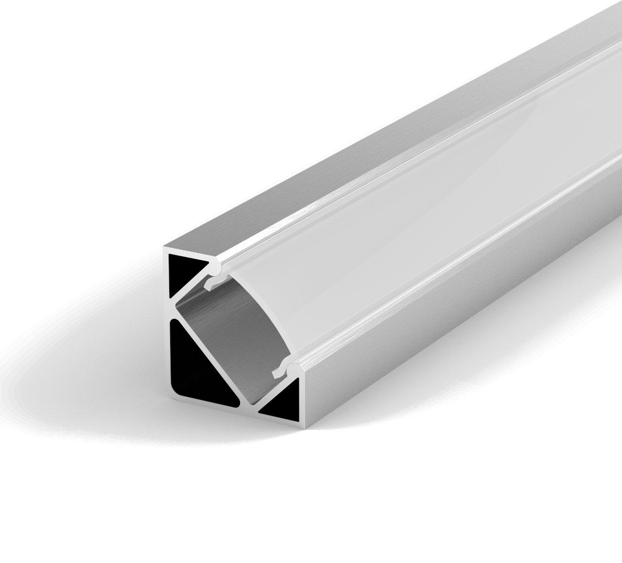 SET: LED Profil, 100cm Profil LED 45° für LED Streifen, aluminium ...