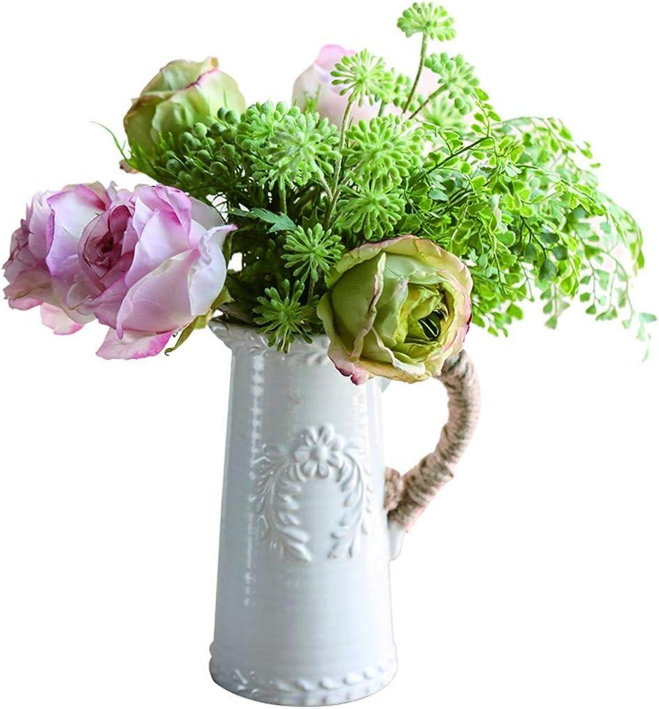 Flor artificial Flor de simulación Rose Crespo Sala de escritorio decoración plástica del ramo de falsificación flor Conjunto de seda ramo de flores, con el florero flores artificiales ( Size : S )
