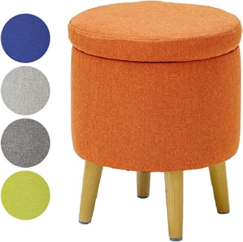 HIGOGOGO Round Storage Ottoman with Legs, Large Cotton Linen Foot Rest Stool with Removable Lid, Tufted Footstool Coffee Table for Living Room Bedroom Home, Orange, 17.7 x14.5 x14.5