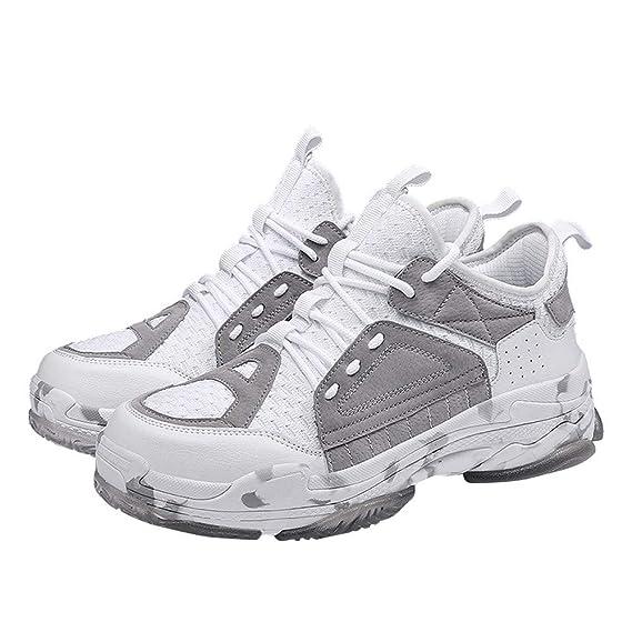 ❤ Calzado Deportivo de los Hombres Empalme, Moda Zapatos Casuales Tendencia de los Hombres de la Armadura de la Mosca Respirable con ligereza Zapatillas ...