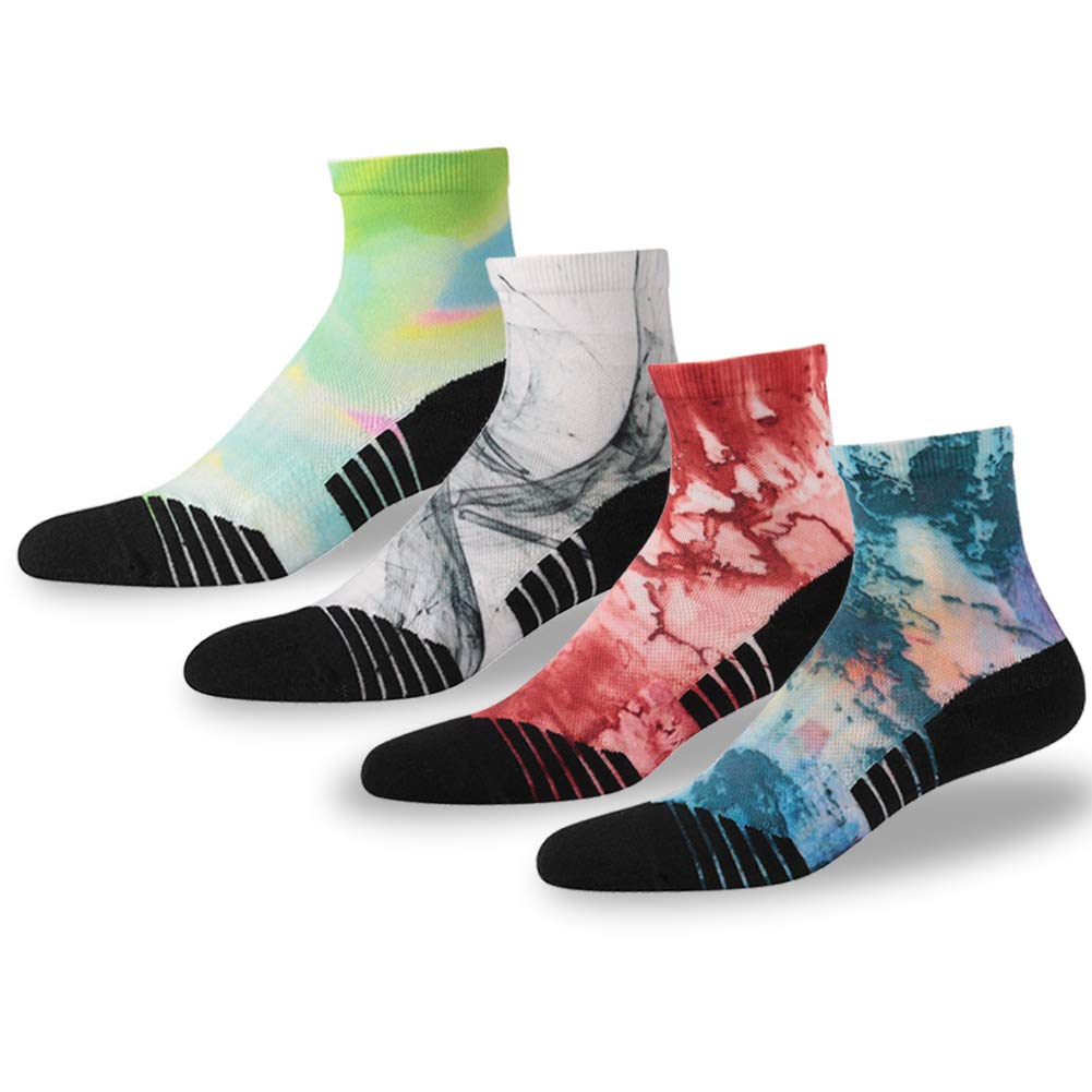 NIcool Wicking Running Socks, Men's Fun Pattern Anti-blister Cushion Dry Moisture-Wicking Ankle Sport Hiking Socks, 4 Pairs, Multicolor by NIcool