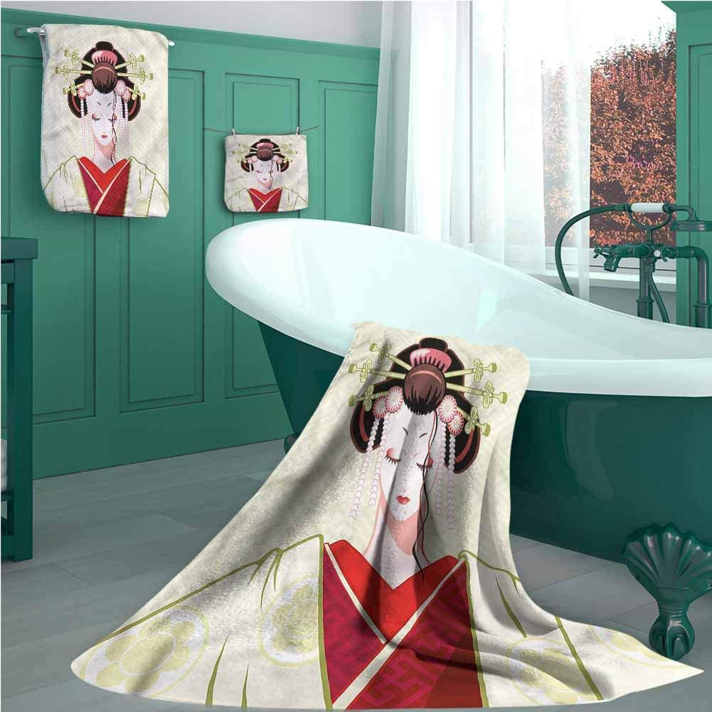 100/% Cotone Biologico 3 Pezzi linyangpttowel Geisha Motivo Ritratto di Donna per Uomini e Donne S Set di Asciugamani da Bagno con Stampa Giapponese per Uso Quotidiano