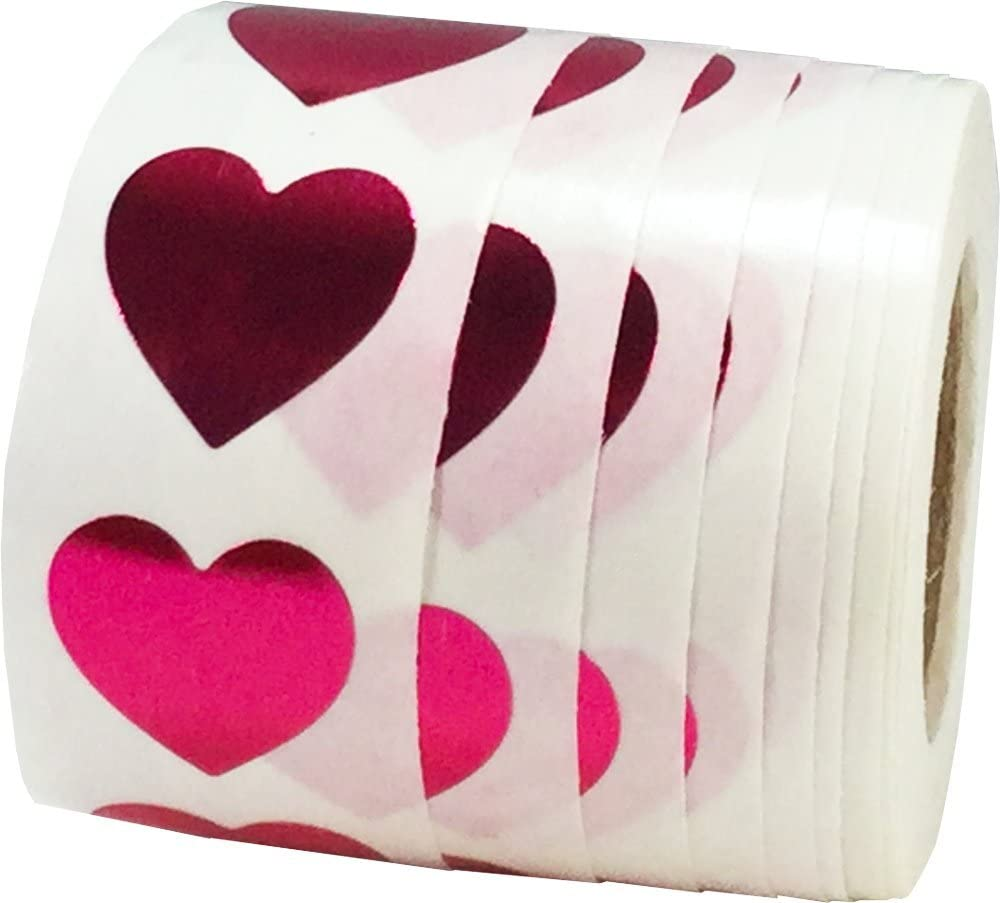 Hot Pink Heart Stickers 19 mm 3//4 Inch Valentines Day Labels 500 Pack
