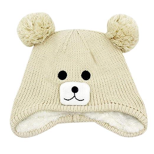cef6e90eaa4 Aimeio Kids Toddlers Winter Ear Flap Beanie Hat Cute Bear Warm Pom Pom Knit  Hat Beige